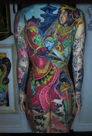 女满背纹身 女生后背上马和人物纹身图片