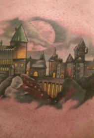 房子纹身图案 男生大年夜腿上黑色的修建物纹身图片