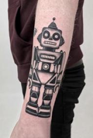 幾何元素紋身 男生手臂上黑色的機器人紋身圖片