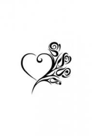 心形纹身手稿 爱意满满的玫瑰和心形纹身手稿