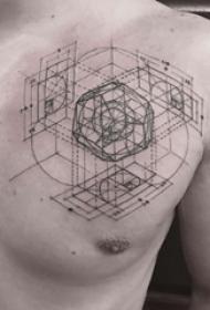 极简线条纹身 男生胸上黑色的极简线条纹身图片