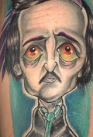 人物肖像纹身  男生手臂上彩绘的卡通人物肖像纹身图片