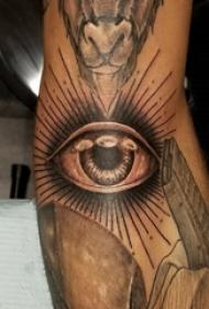眼睛纹身 男生手臂上黑灰的眼睛纹身图片