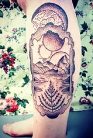 风景纹身  女生小腿上黑灰的风景纹身图片