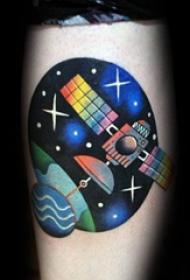 小宇宙纹身 多款简单线条纹身素描宇宙卫星纹身图案