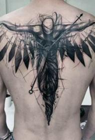 天使纹身 多款黑灰纹身点刺技能天使纹身图案