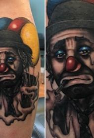 小丑纹身  男生小腿上悲伤的小丑纹身图片