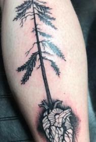 松树纹身 男生小腿上松树和心脏纹身图片