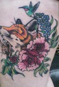 植物紋身  女生大腿上動物和植物紋身圖片