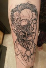 恐怖纹身  女生手臂上黑灰的恐怖纹身图片