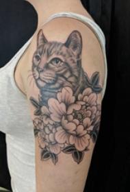 小猫咪纹身 女生大臂上花朵和猫咪纹身图片