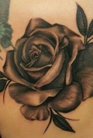 玫瑰纹身图 女生肩上彩绘玫瑰和蝴蝶纹身图片