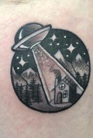 几何元素纹身 男生手臂上飞碟和风景纹身图片