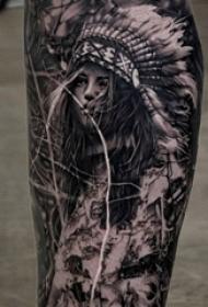印第安人纹身 男生小腿上黑色的印第安人纹身图片