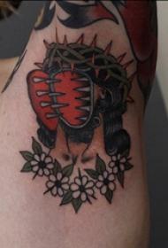 腋下纹身图案 女生腋下花朵和恐怖人物纹身图片