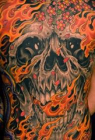 满背纹身图案 男生后背上火焰和骷髅纹身图片