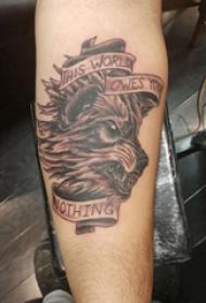 滴血狼头纹身  男生小臂上狼头和英文纹身图片