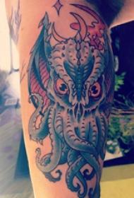 小腿象神纹身图案  女生小腿上彩绘的象神纹身图片
