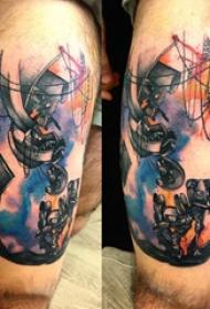 大腿紋身男 男生大腿上彩色的機器人紋身圖片