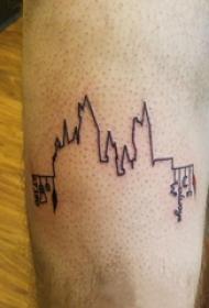 欧美建筑纹身 男生小腿上黑色的建筑轮廓纹身图片