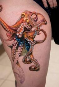章魚紋身圖案  女生大腿上個性的章魚紋身圖片