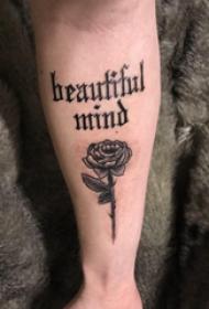 花朵和英文纹身图案  女生小臂上花朵和英文纹身图片