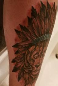 印第安羽毛纹身 男生小腿上彩色的印第安风狮子纹身图片