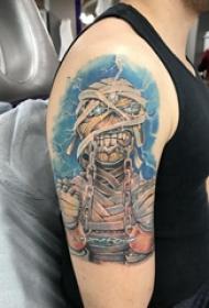 纹身木乃伊图片  男生手臂上彩绘的木乃伊纹身图片