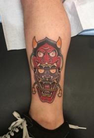 般若纹身图 男生小腿上彩色的般若纹身图片