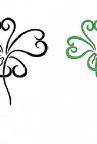 四叶草纹身手稿 幸运的彩色四叶草纹身手稿