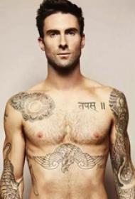 美国纹身明星  亚当.莱文身上黑灰色的植物纹身图片