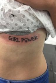 女生胸下纹身 女生胸下英文和符号纹身图片