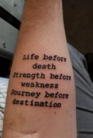 手纹身英文字母  男生手臂上极简的英文字母纹身图片