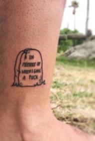 墓碑纹身图 男生小腿上英文和墓碑纹身图片