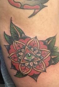 纹身图案花朵  女生手臂上花朵和几何纹身图片