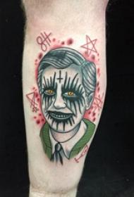 恐怖纹身  男生小臂上彩绘的恐怖纹身图片
