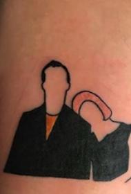 纹身头像情侣 男生手臂上彩色的情侣人物纹身图片