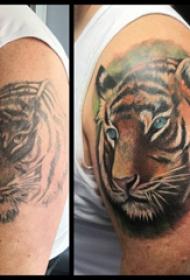 老虎头纹身图案  男生大腿上素描的老虎头纹身图片