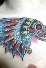 印第安人纹身  男生胸上彩绘的印第安人纹身图片