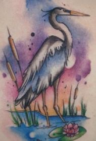 鹤纹身 女生后背上植物和仙鹤纹身图片
