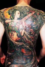中国风敦煌飞天纹身图案