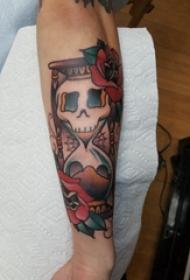 纹身沙漏  男生手臂上沙漏和骷髅纹身图片