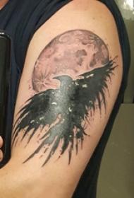紋身老鷹圖片  男生大臂上黑灰的老鷹紋身圖片