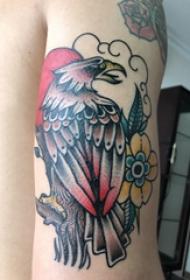 紋身老鷹圖片  女生手臂上老鷹和花朵紋身圖片