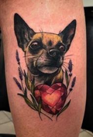 歐美小腿紋身 男生小腿上鉆石和小狗紋身圖片