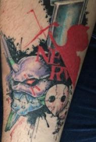 彩绘纹身 男生手臂上面具和怪物纹身图片