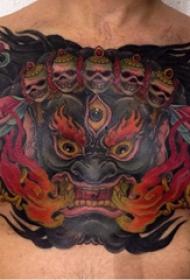 妖魔鬼怪纹身  男生胸前恐怖的妖魔鬼怪纹身图片