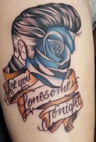 人物肖像纹身  女生大腿上英文和人物肖像纹身图片