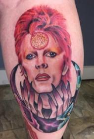 人物肖像纹身  男生小腿上超写实的人物肖像纹身图片