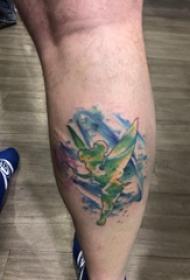小精灵纹身勾线 男生小腿上彩色的精灵纹身图片